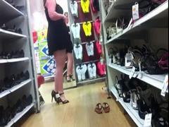 Shoe shopping upskirt, No panties