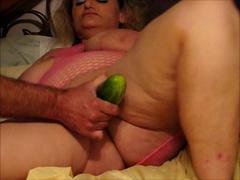 Big slut fucking cucumber