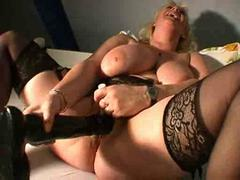 After dildo play the BBW chick does anal