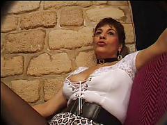 FRENCH MATURE n26 brunette anal mom gangbang in club