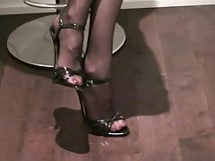 black sandals heels & stockings