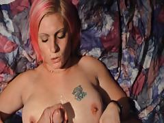 Pink Haired MILF Amanda Gets Her Tits Covered In Hot Jizz