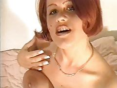 Amateur redhead in nylons gets cum all over