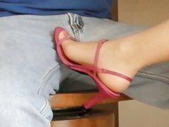 Pink heels, size 6 nylon feet on crotch