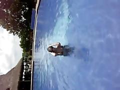 dancing in the pool