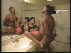 Girl sucks guys cock on the bathroom counter