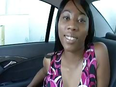Hot ebony drilled by white cocki on the backseat of a car