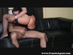 Sexy brunette agent dominates cock