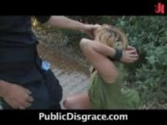 Busty Blonde naked, crawling and fucking in public!