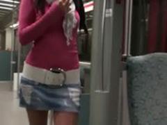 Real Amateur Hottie Masturbating on the Train