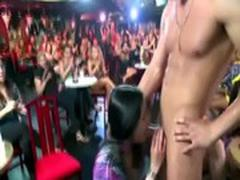 Brunette amateur sucks CFNM stripper at CFNM party