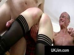 Brunette schoolgirl on her all fours gets ass stretched by 2 seniors