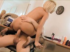 British blonde hairdresser gets fucked in fishnets
