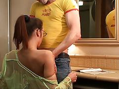 Guy takes girl to hotel and she sucks hig cock on her knees then fucks
