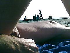 anal vegetable insert on public beach