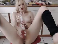 Beauty house wife squirting in kitchen