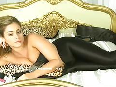 Brunette in her shiny leggings