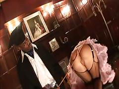 British slut Suzie Best gets fucked up the arse in fishnets