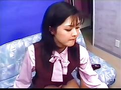 Japanese beauty with legs sucks and gets a mouthful of cum