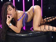 Ava Blue on RLC in Black Strappy Heels
