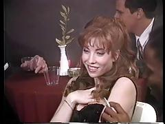Horny redhead gets her pussy asshole and tits eaten by all the men in the party