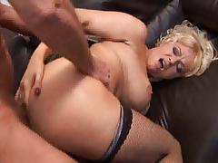 British slut Starr gets fucked up the arse in fishnets