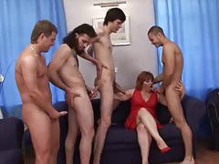 Old Russian Mom has fun with Men