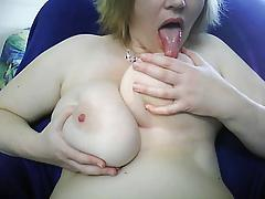 Chubby wife rubbing tits on webcam