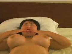 chubby asian takes few black cum on her