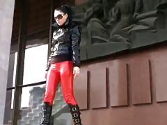 Nastya in red leather leggings & black knee high booots