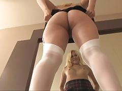 Blonde secretary spreads and dildoes herself on the desk