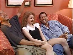 Cute Brit Chick Enjoys Two Dicks !
