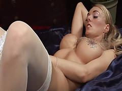 British blonde slut gets fucked on the bed in stockings