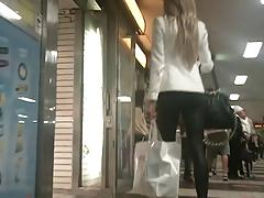 Hot blonde in leather leggings