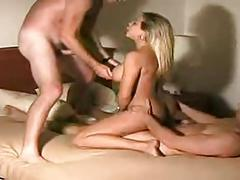 big tits blonde wife takes 2 men in a hotel room