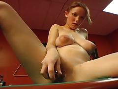 Amateur With Puffy Nipples Toys On Pool  Table