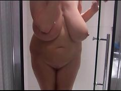 Huge boobs in a shower