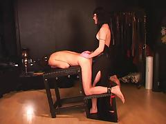 Tall mistress strap the slave