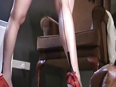British slut Holly fucks herself in FF Stockings