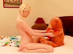 Sensual Blonde Tease with Teddy Bear & Dildo