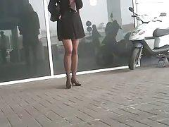Pretty legs while shopping for the holidays 01