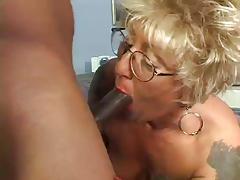 Tattooed Granny  Blonde fucks Bbc
