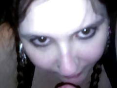Slutty Goth BBW In Pigtails Licks Balls & Ass For First Time