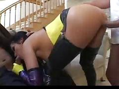 Brunette with leather booots has anal sex -  724adult com