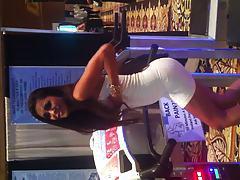 Michelle Maylene standing on jiggle machine