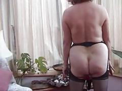 Granny w Pierced Pussy Strips and Toys