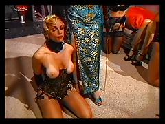 Busty slave gets her pussy licked