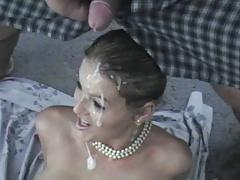 Gorgeous blonde covered in cum
