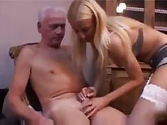 Teen Nurse gives Old Man a good check up