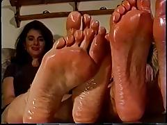 Retro Girls Showing Off Their Oiled Feet.